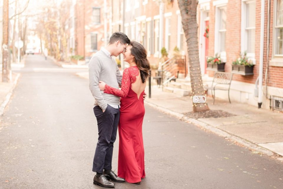 dramatic red dress for engagement session with Renee Nicolo Photography