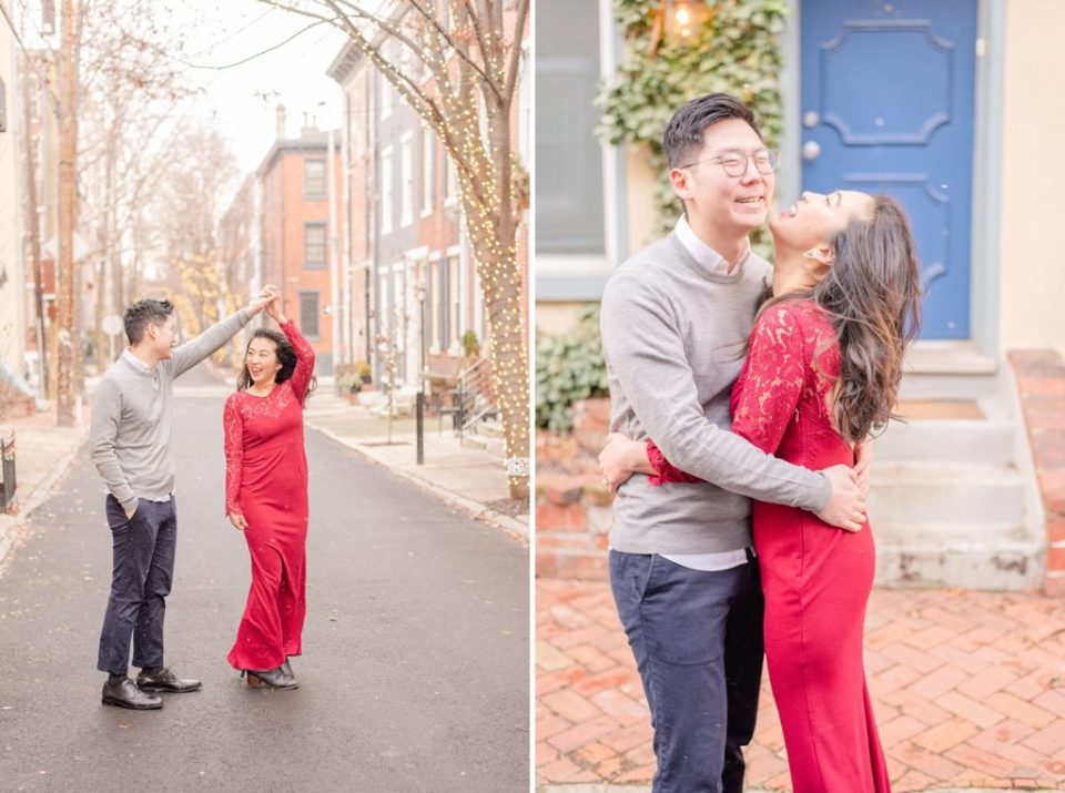 winter engagement portraits with red dress by Renee Nicolo Photography