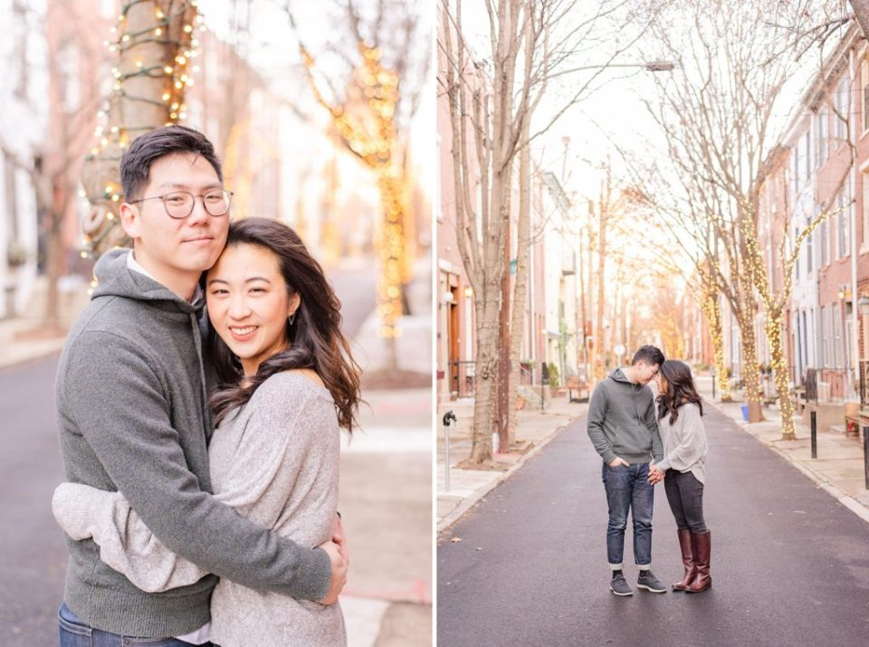 winter engagement portraits in cozy clothes with Renee Nicolo Photography