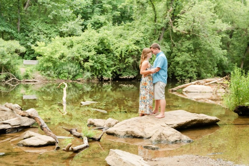 Chestnut Hill engagement portraits by river photographed by Renee Nicolo Photography
