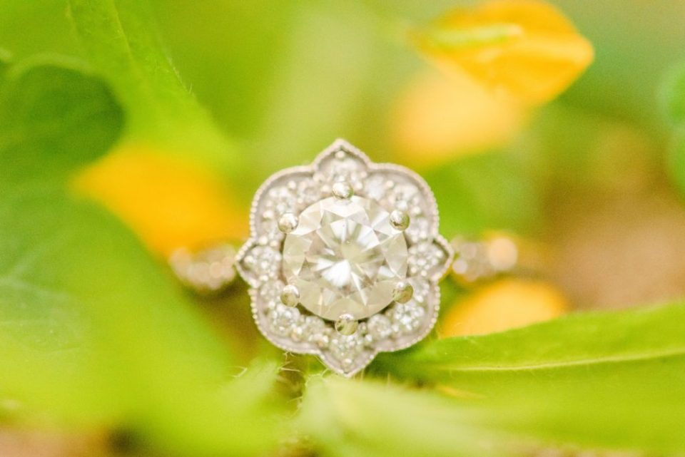 wedding ring lays on leaves with Renee Nicolo Photography