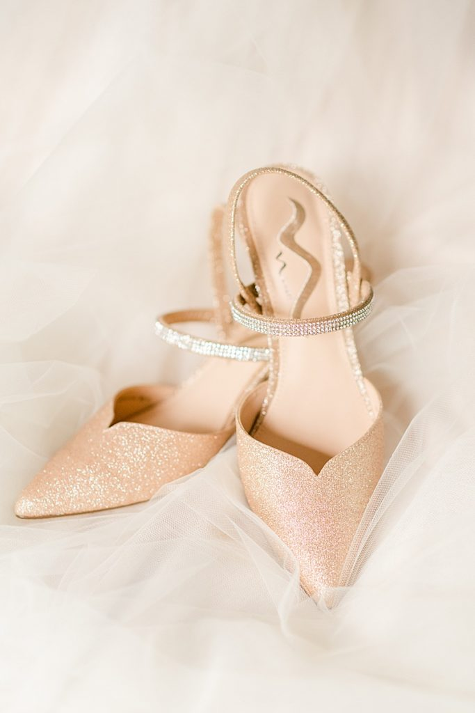pastel peach shoes for the bride