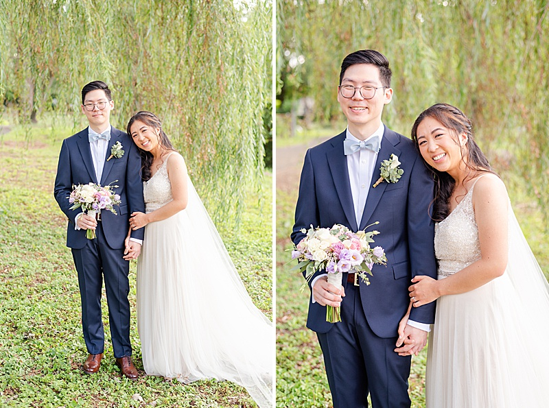 wedding portraits at Cooper Pond Park in the summer before NJ backyard wedding