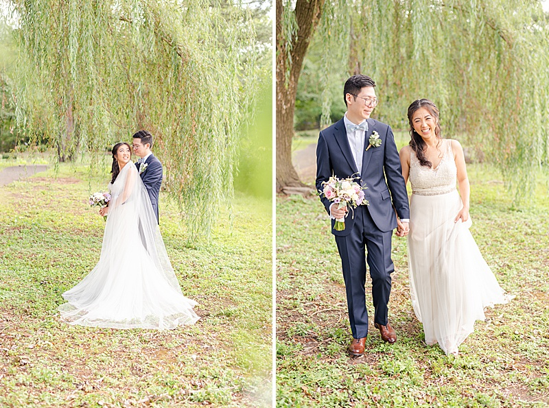 bride and groom pose after first look under willow tree
