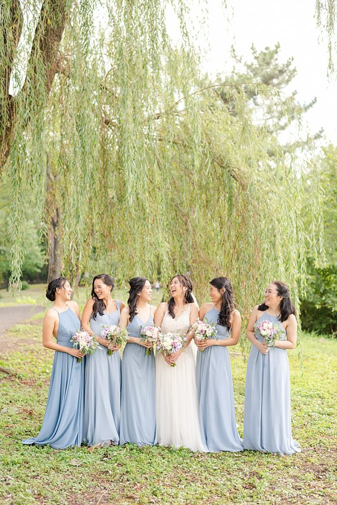 dusty blue bridesmaid gowns from Azazie