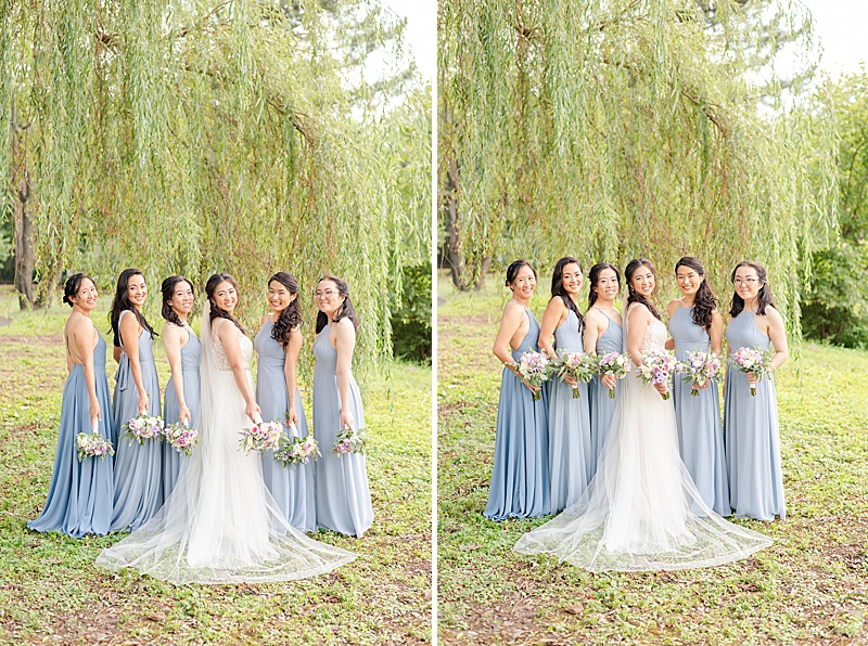bridal party poses under willow tree for summer wedding