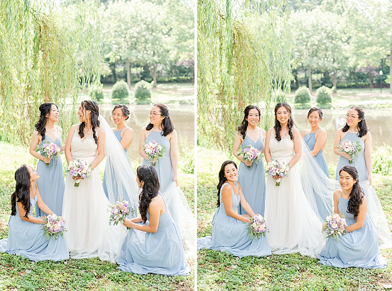 bridesmaids help bride with wedding gown at Cooper Pond Park