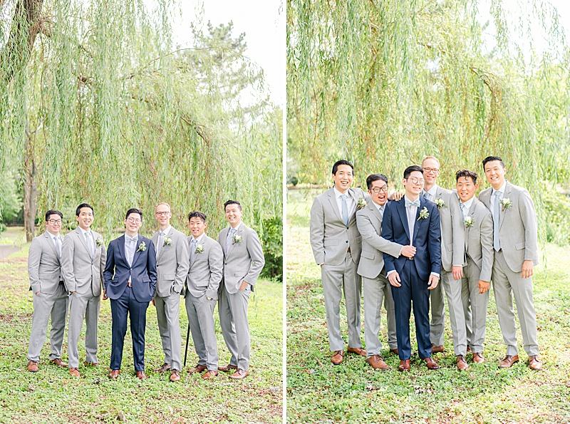 New Jersey wedding portraits of groom and groomsmen
