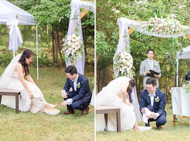 NJ backyard wedding ceremony traditional feet washing