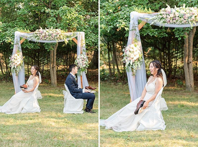shoe game during NJ backyard wedding reception