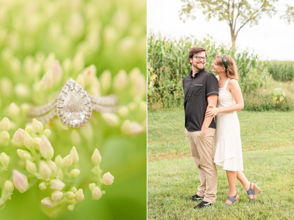 engagement ring on farm at Historic Stonebrook Farm