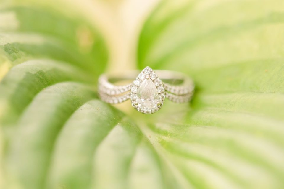 teardrop engagement ring rests on leaf at v
