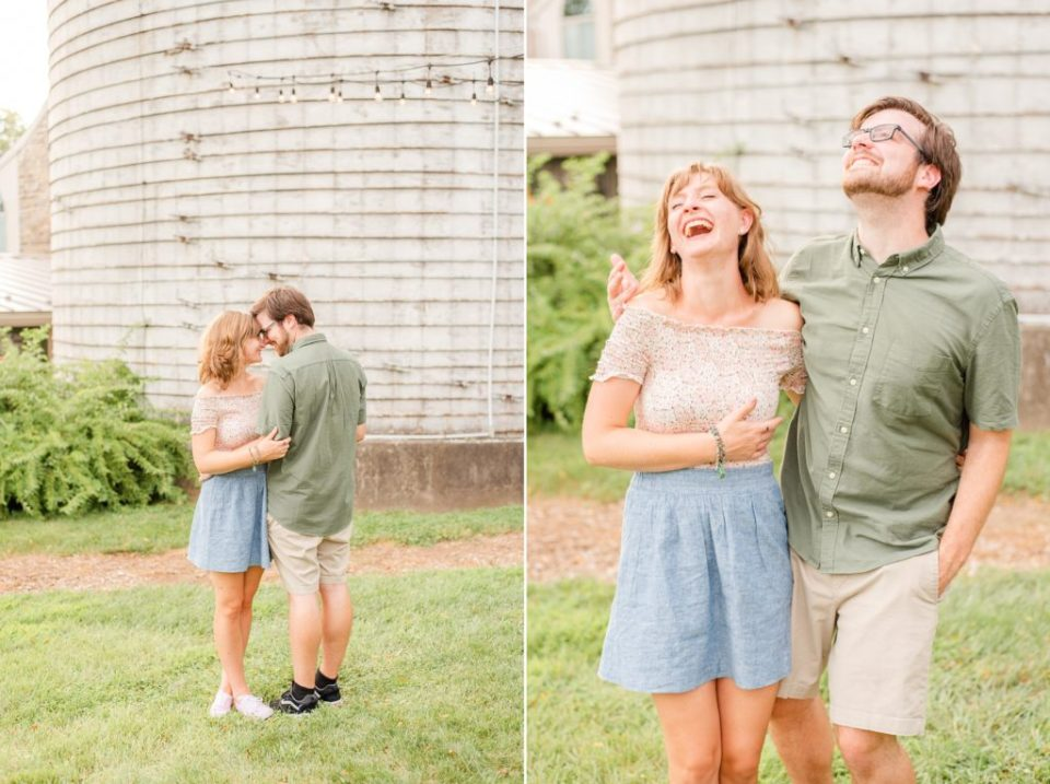 couple laughs during Pennsylvania engagement session