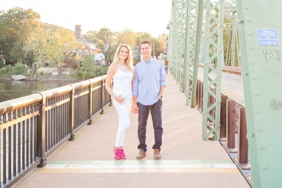 sunset engagement photos on bridge in New Hope PA