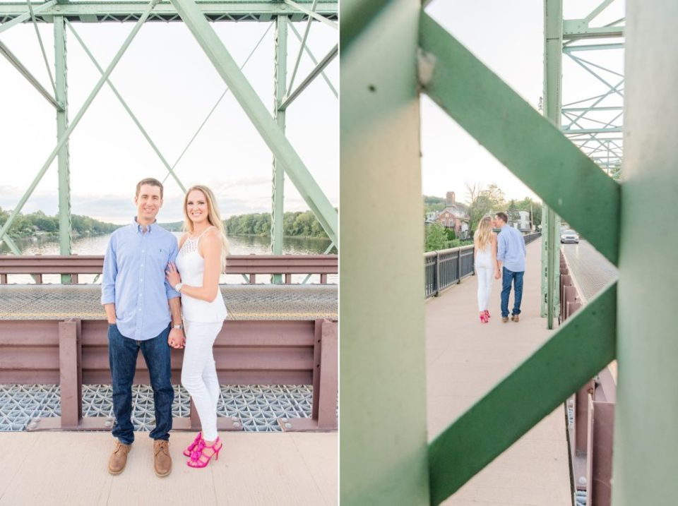New Hope Engagement portraits on bridge