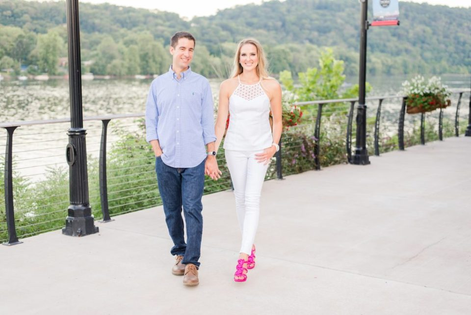 bride in white outfit and pink shoes walks through New Hope