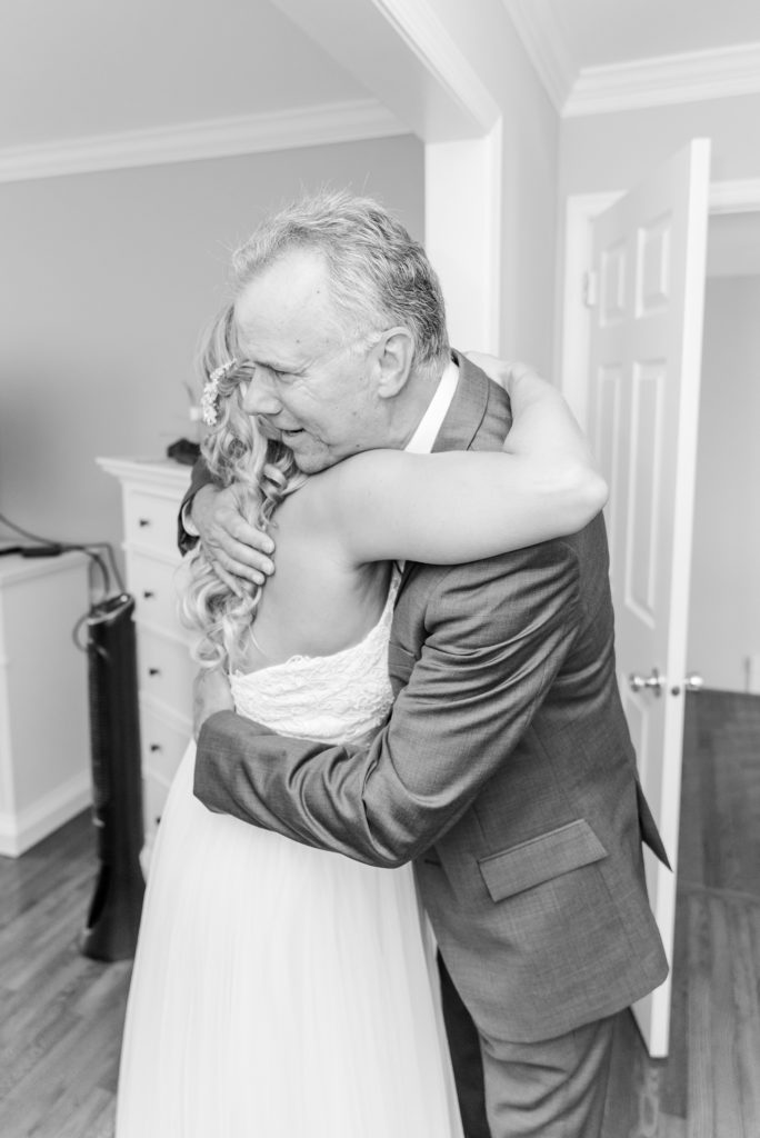 bride has first look with dad before Graeme Park Wedding