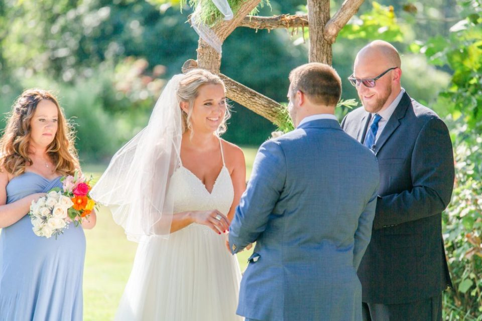 bride and from exchange vows during wedding ceremony