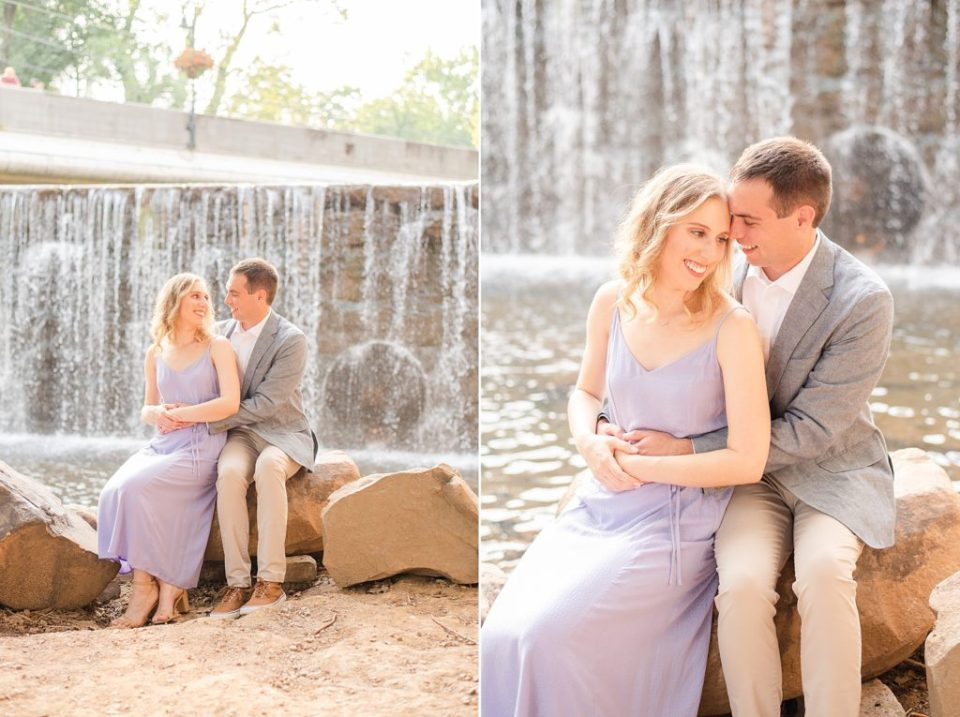 PA engagement session near waterfall