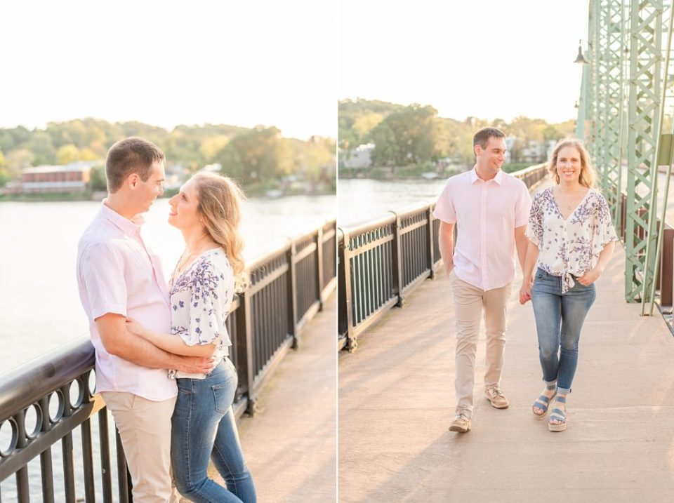 engaged couple walks along PA/NJ bridge
