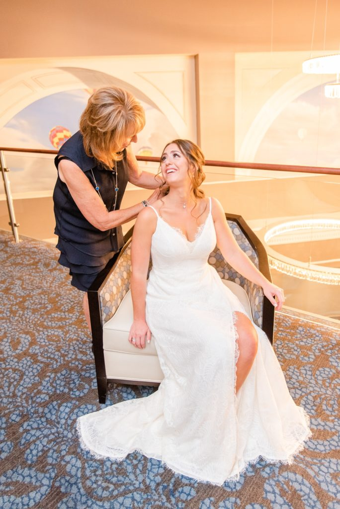 bride and mother prepare for PA wedding