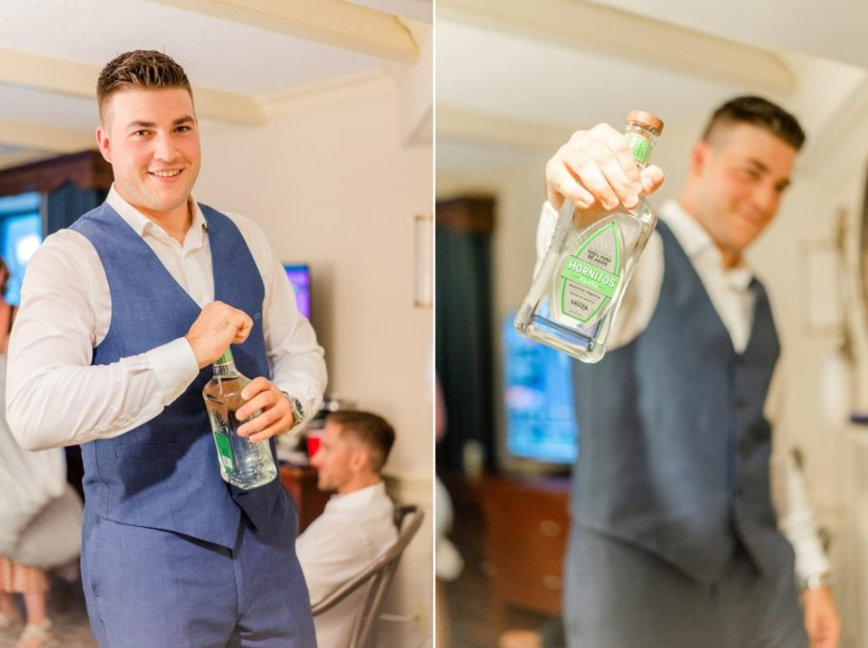 groom prepares for PA wedding day with tequila