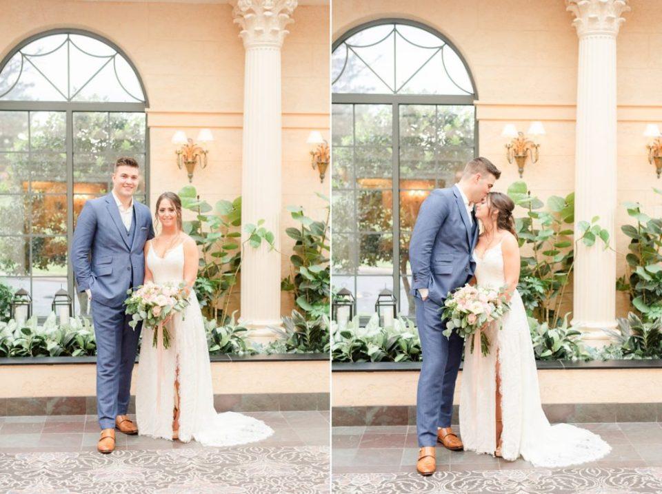 groom kisses bride's forward during wedding portraits