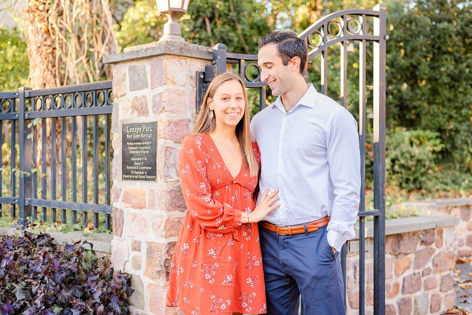 New Hope PA engagement portraits by iron gate