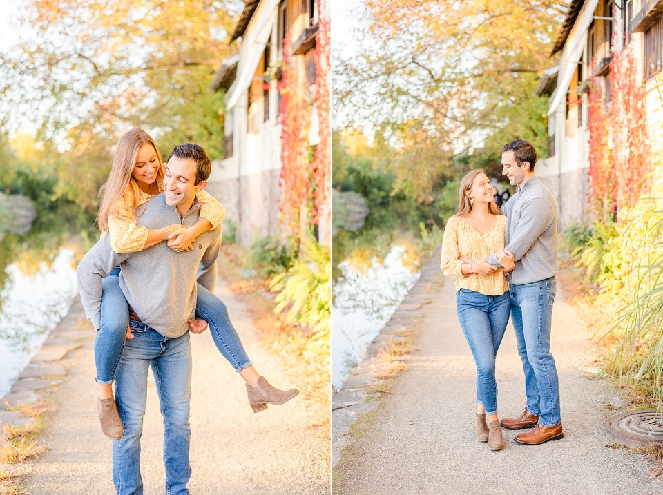 fall New Hope engagement session along canal