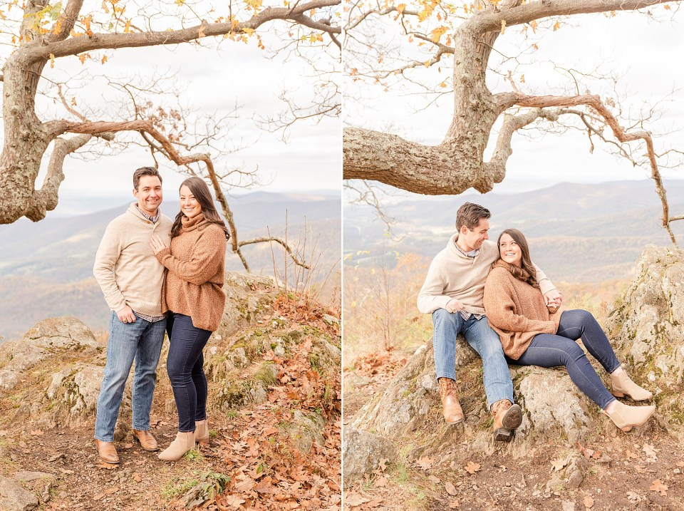 engaged couple sits in tree at Shenandoah National Park