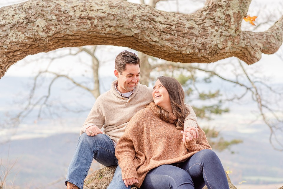 couple laughs during VA engagement session