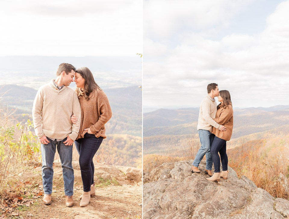 groom kisses bride's forehead on mountain in Shenandoah National Park