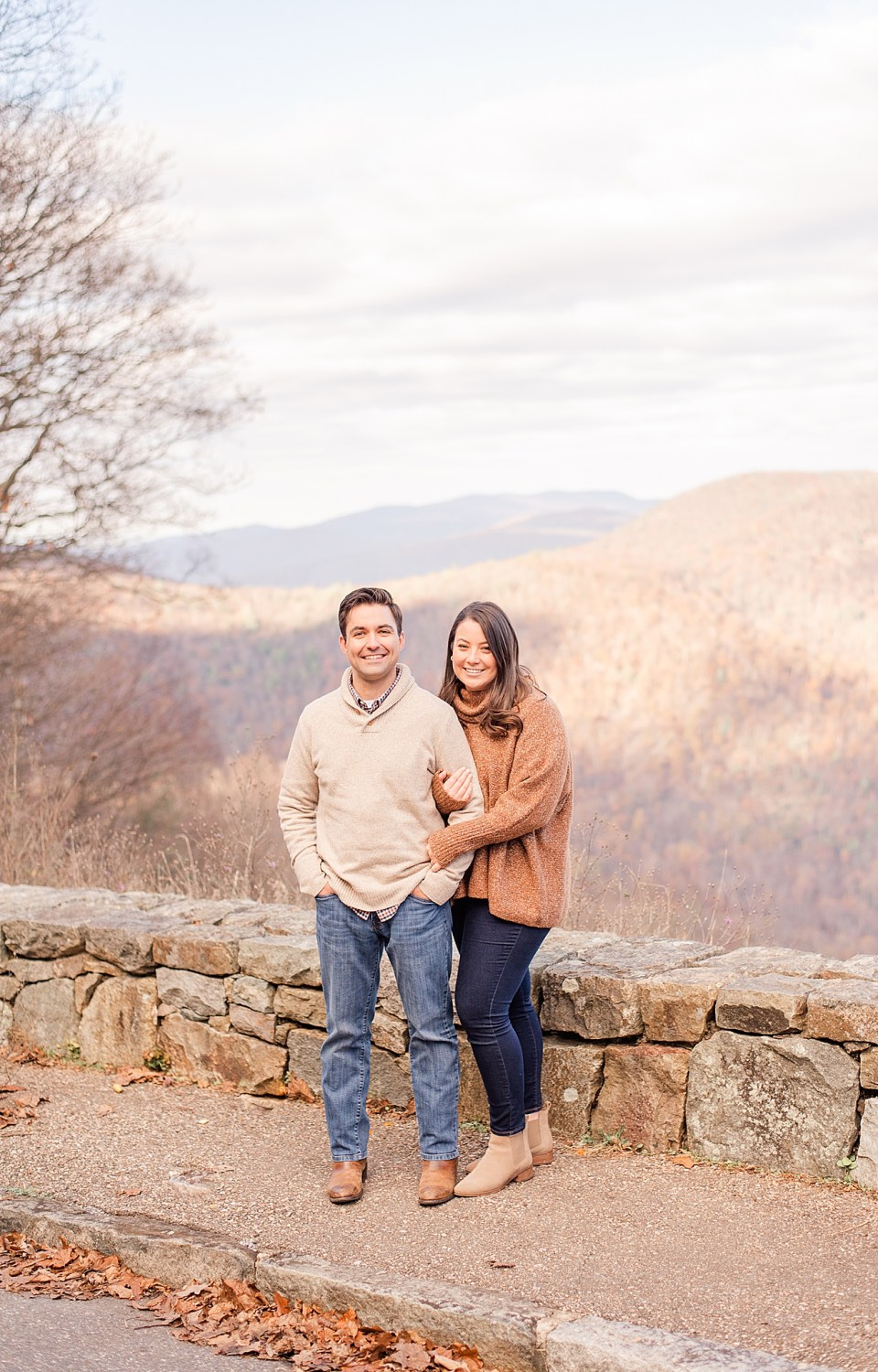 cozy fall engagement session in Shenandoah National Park