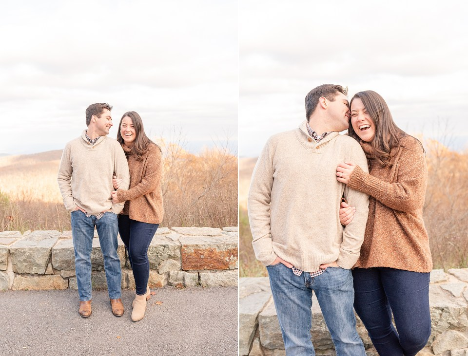 engagement portraits on skyline drive in VA national park
