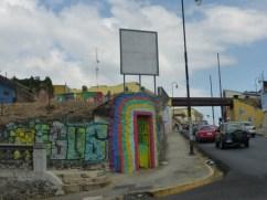 Colorful street corner near the train - in San José