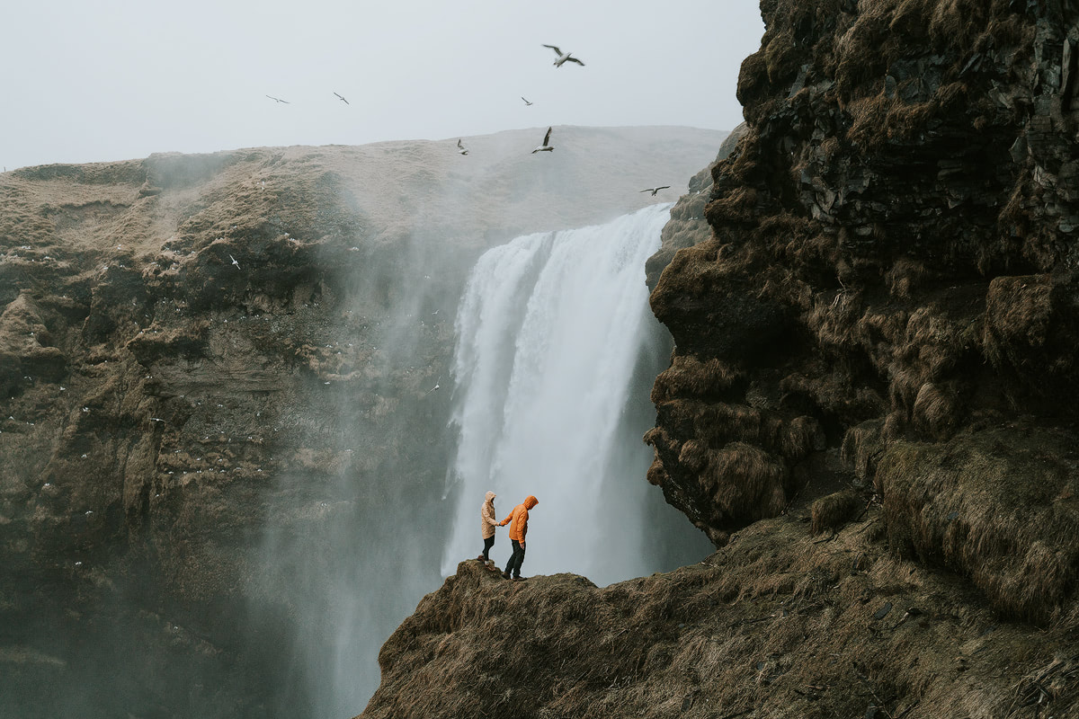 Iceland, Skogafoss Couple - Renee Roaming