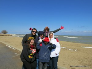 Freezing our buns off at Lake Michigan!!