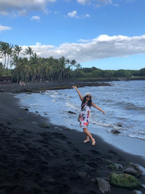 Island of Hawaii black sand beach