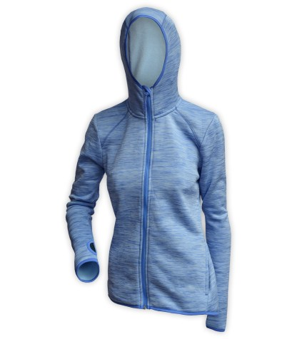 light blue hooded womens jacket for embroidery, thumbholes