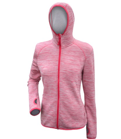 renegade club power stretch fleece jacket, women's fleece pink, hood, thumbholes, soft fleece, full zipper