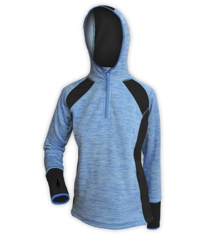 athletic hoodie pullover quarter zip for embroidery, sporty thumb holes