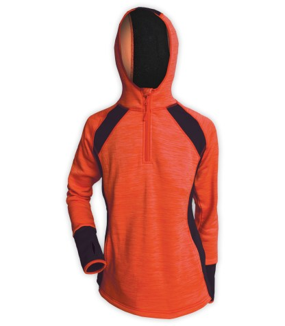 orange hoodie pullover quarter zip for embroidery, sporty thumbhole