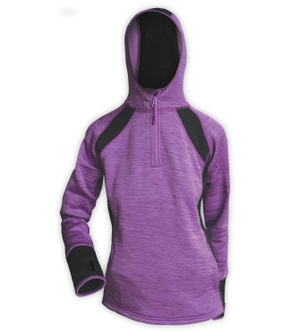 purple sporty hoodie pullover quarter zip for embroidery, thumb holes