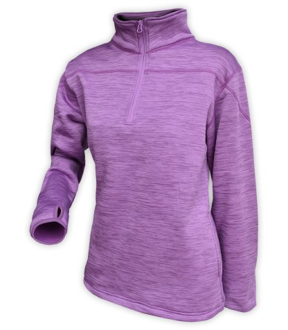 purple sweater pullover, quarter zip, women, wholesale, embroidery