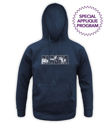 renegade wholesale hoodies special applique program, navy hooded pullover, bear, eagle moose, alaska, wholesale hoodie applique