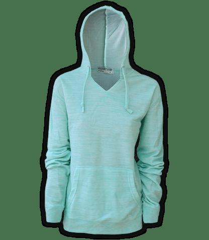 resort stop, renegade club melange womens pullover, hoodie, seafoam, green, blue