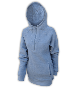 renegade club fleece womens pullover, nantucket soft fleece, half zip, indigo, blue