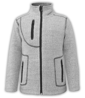 renegade club youth jacket, nantucket fleece, salt & pepper, gray, white, pockets, zipper, full zip, kids fleece jacket, outerwear