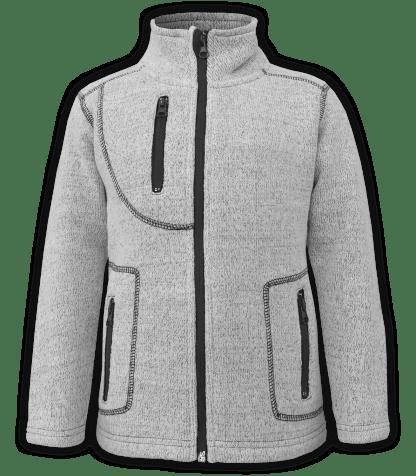 renegade club youth jacket, nantucket fleece, salt & pepper, gray, white, pockets, zipper, full zip, kids fleece jacket, outerwear