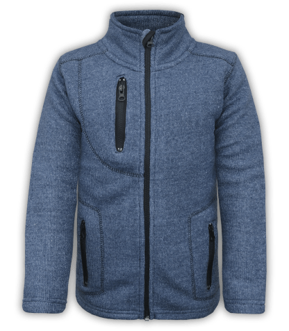 renegade club youth jacket, nantucket fleece, denim, blue, pockets, zipper, full zip, kids fleece jacket, outerwear
